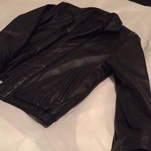 Men's Large John Ashford leather jacket, black